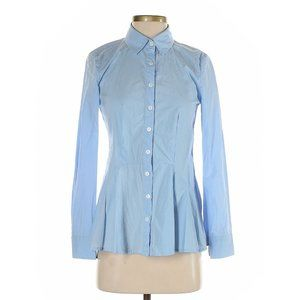 SUNDANCE Blue Peplum Button-Down Shirt sz M Womens